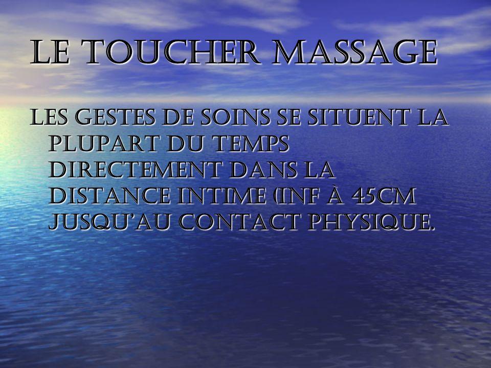 Le toucher massage Les gestes de soins se situent la plupart du temps directement dans la distance intime (inf à 45cm jusqu'au contact physique.