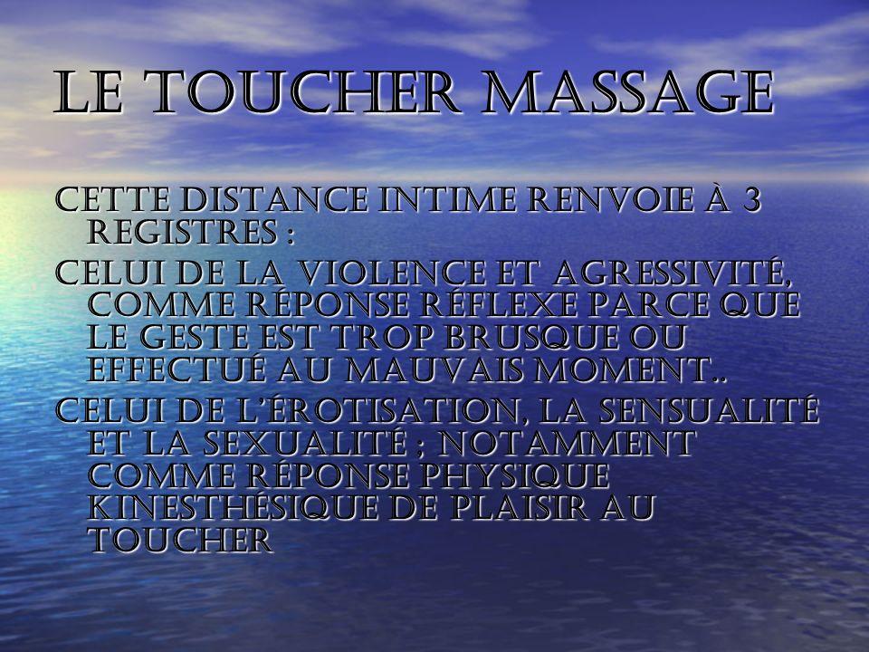 Le toucher massage Cette distance intime renvoie à 3 registres :