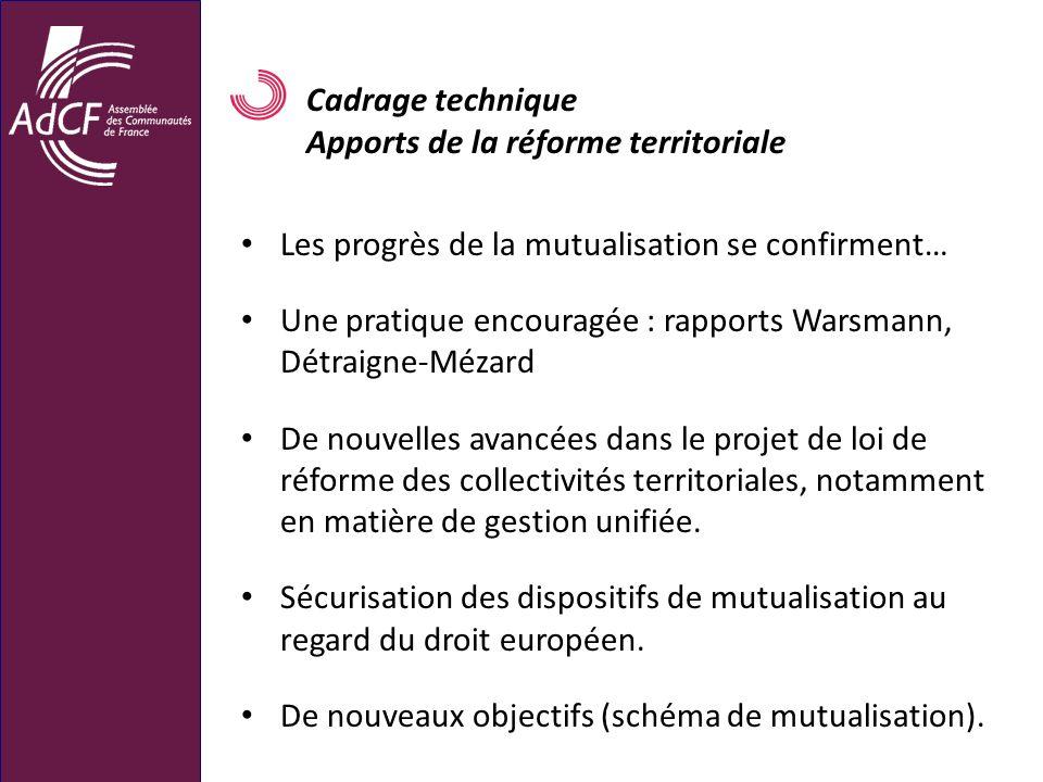 Cadrage technique Apports de la réforme territoriale. Les progrès de la mutualisation se confirment…