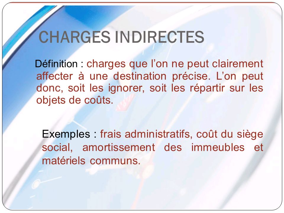 CHARGES INDIRECTES