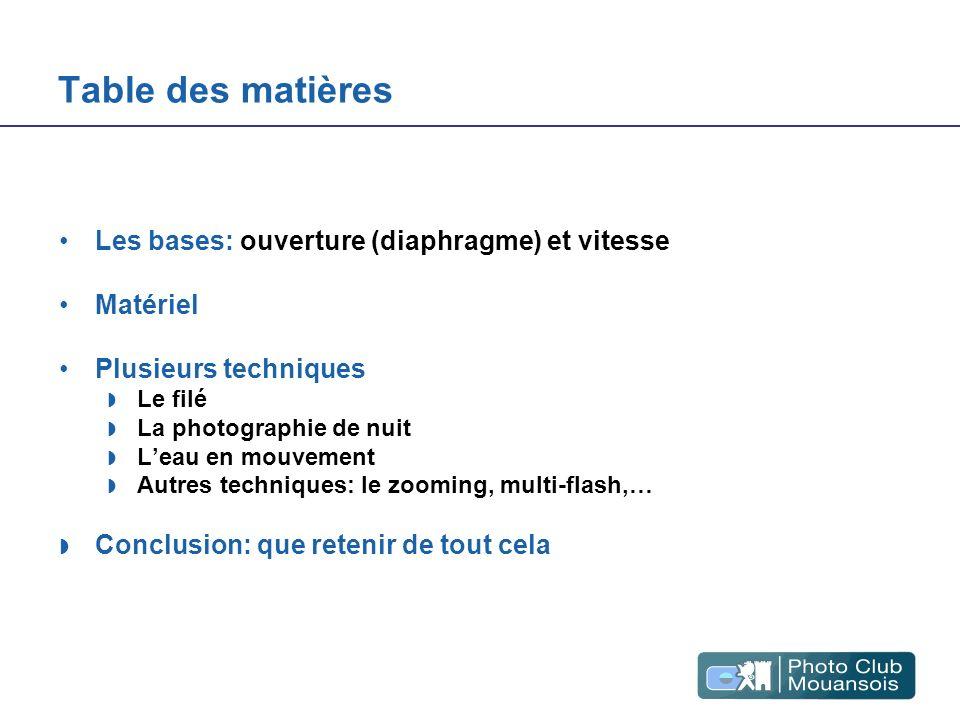 Table des matières Les bases: ouverture (diaphragme) et vitesse