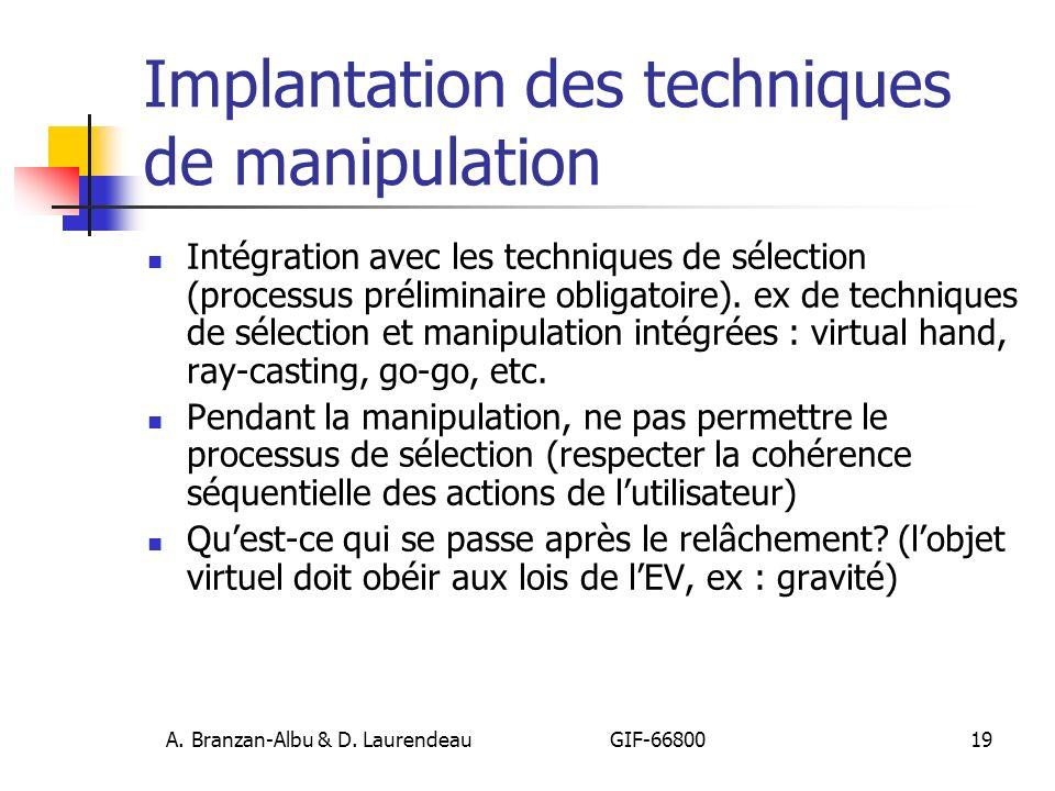 Implantation des techniques de manipulation