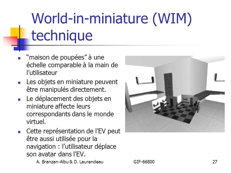 World-in-miniature (WIM) technique