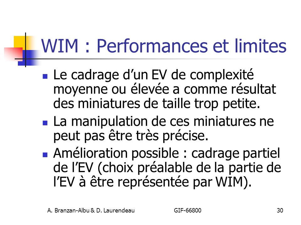 WIM : Performances et limites