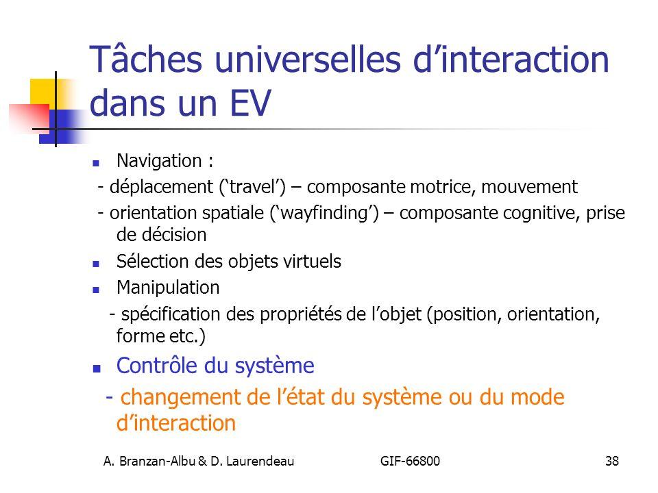Tâches universelles d'interaction dans un EV