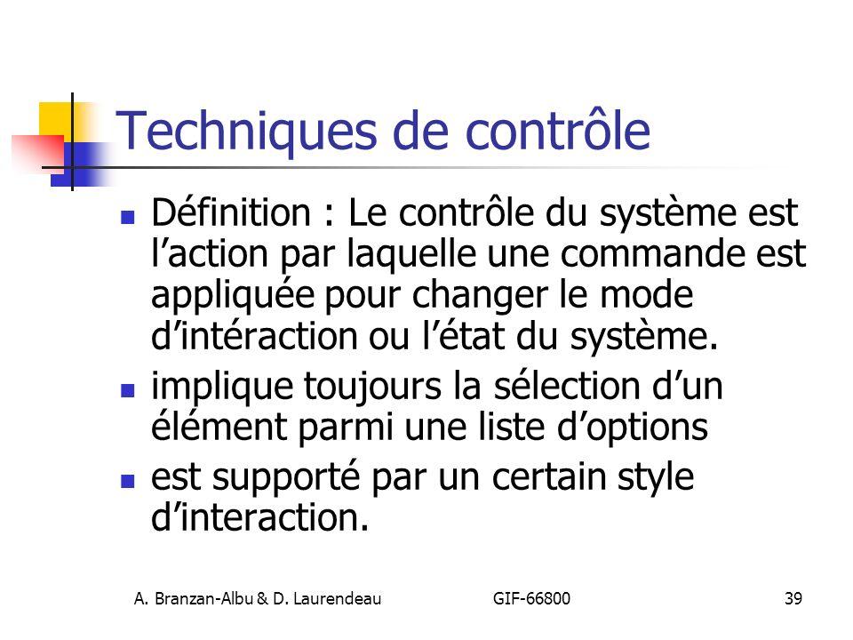 Techniques de contrôle