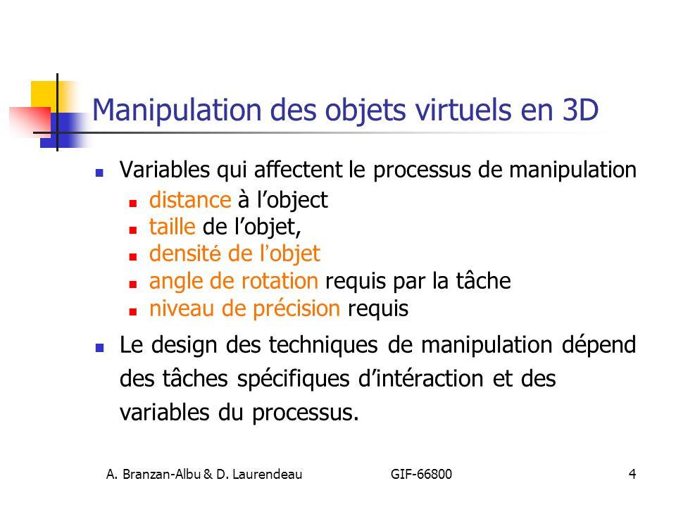 Manipulation des objets virtuels en 3D