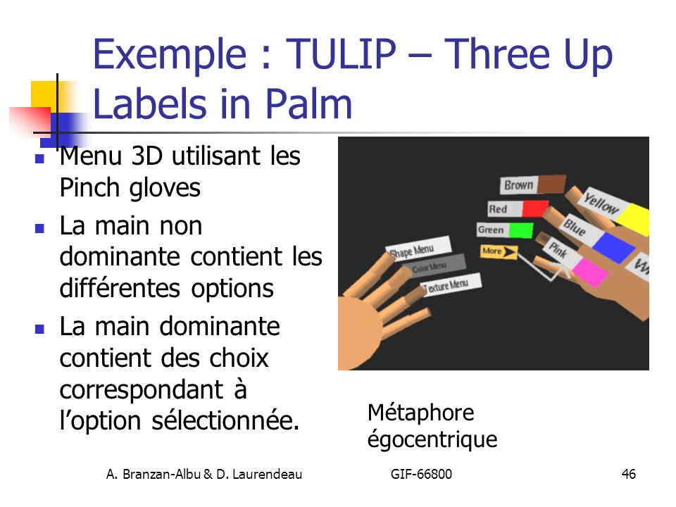 Exemple : TULIP – Three Up Labels in Palm