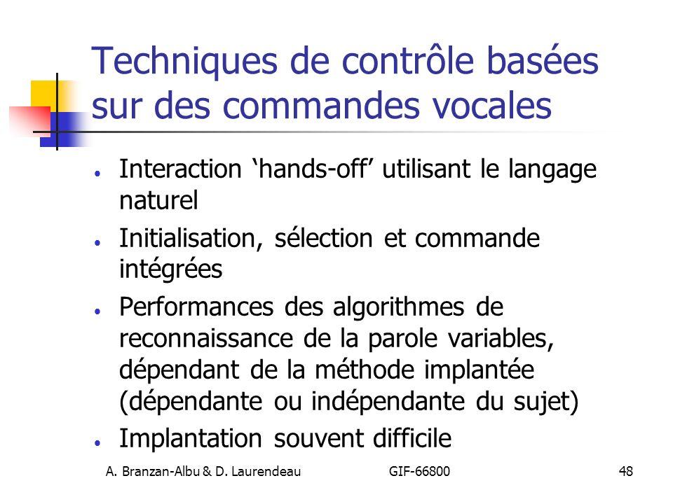 Techniques de contrôle basées sur des commandes vocales