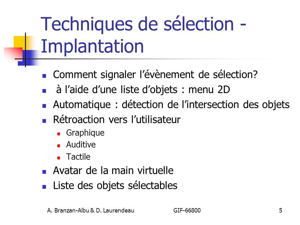 Techniques de sélection - Implantation