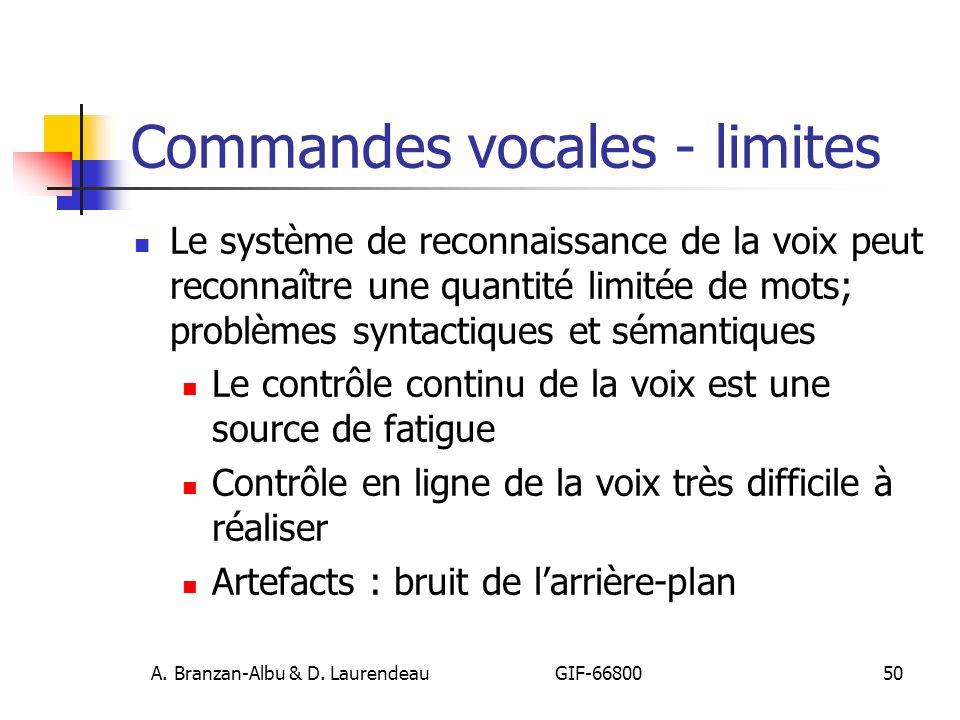 Commandes vocales - limites