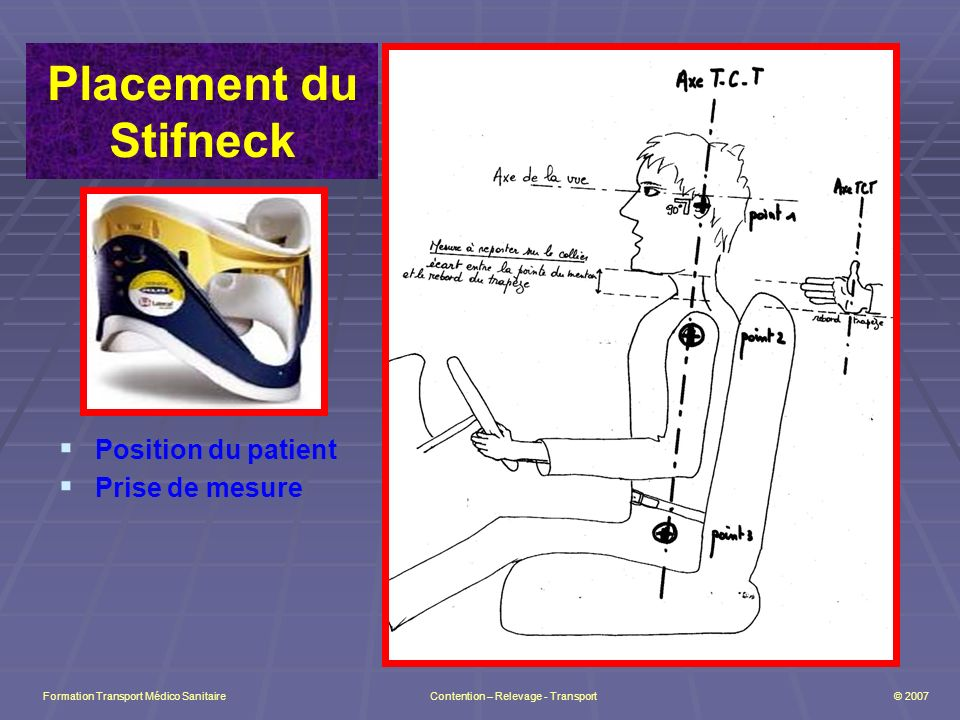 Placement du Stifneck Position du patient Prise de mesure