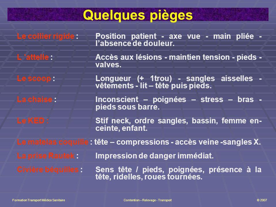 Quelques pièges Le collier rigide : Position patient - axe vue - main pliée - l'absence de douleur.