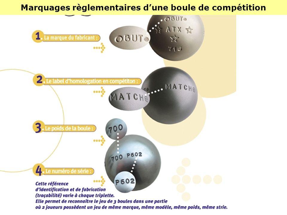 Marquages règlementaires d'une boule de compétition