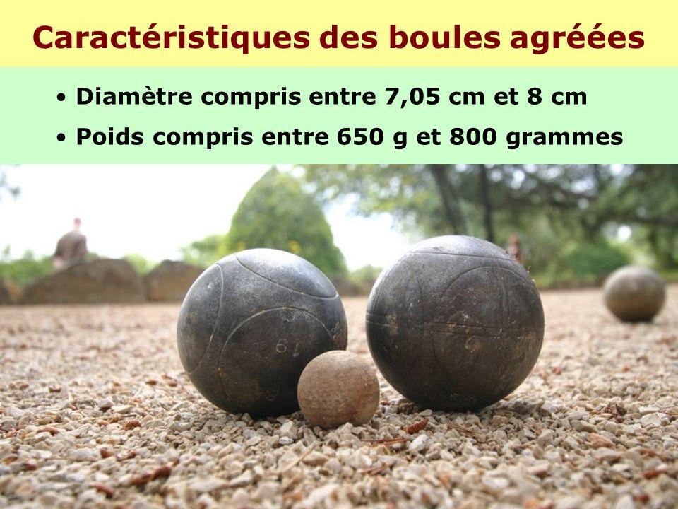 Caractéristiques des boules agréées