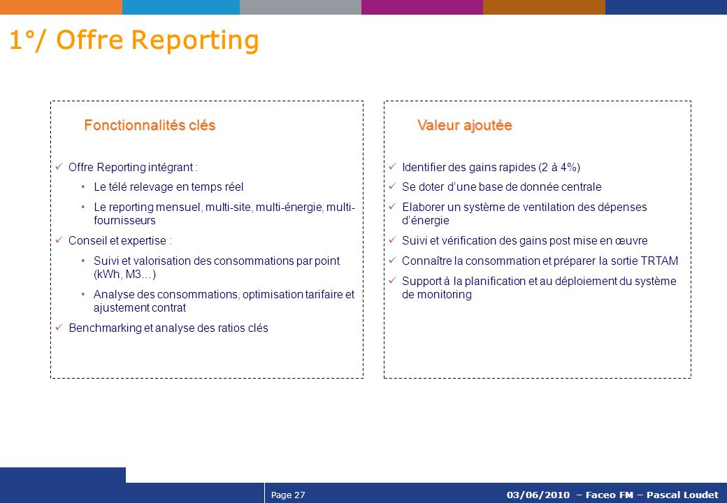 1°/ Offre Reporting Fonctionnalités clés Offre Reporting intégrant :