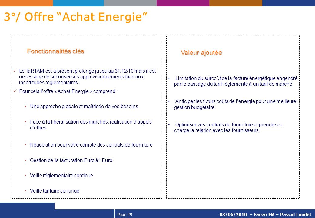 3°/ Offre Achat Energie