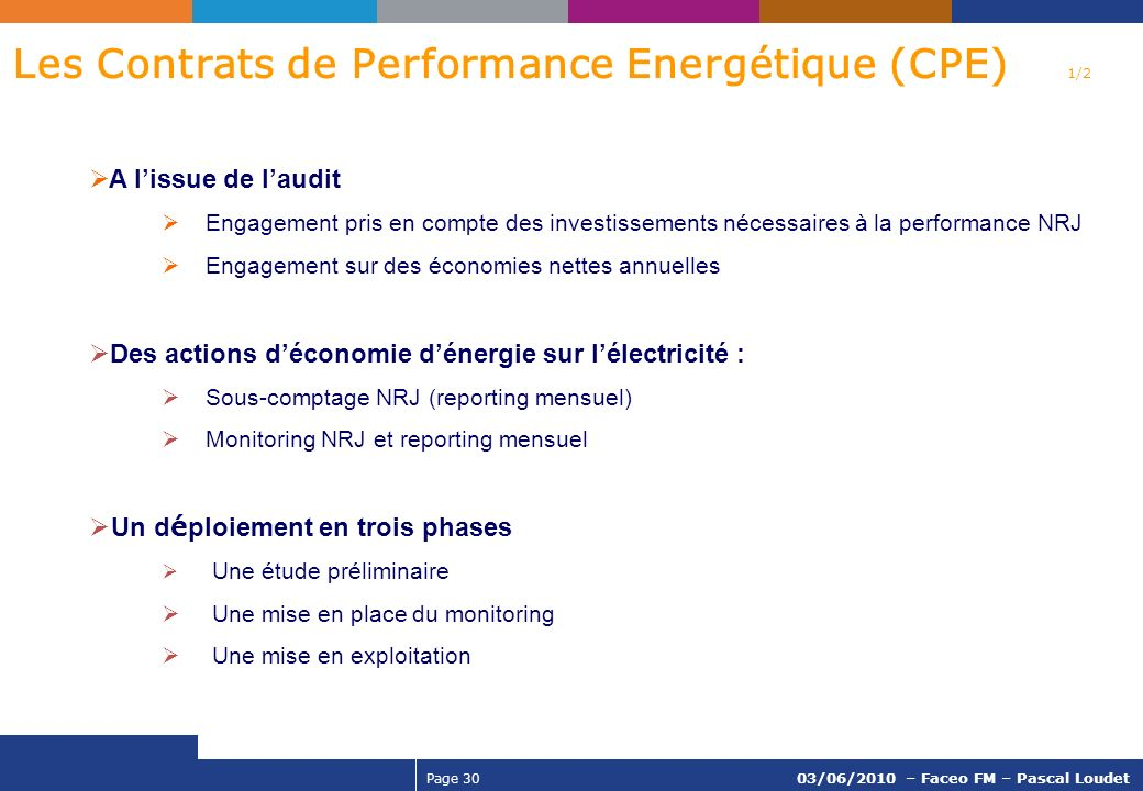 Les Contrats de Performance Energétique (CPE) 1/2