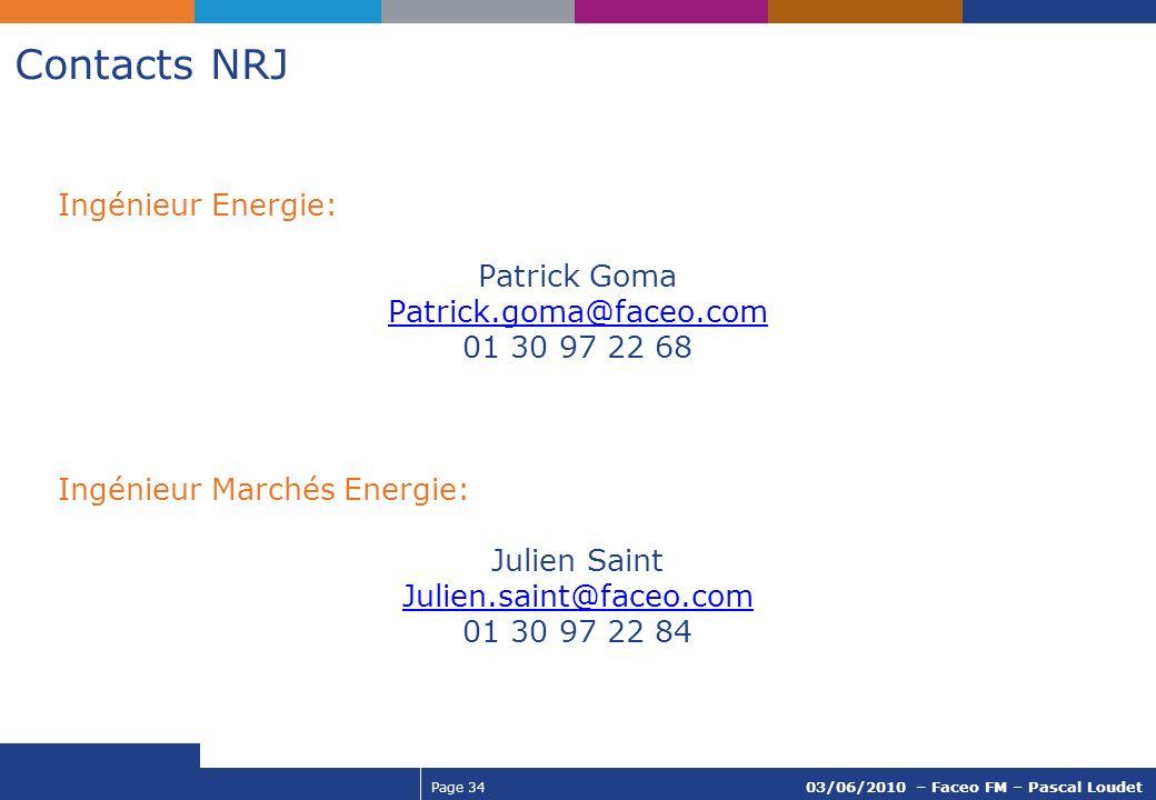 Contacts NRJ Ingénieur Energie: Patrick Goma Patrick.goma@faceo.com