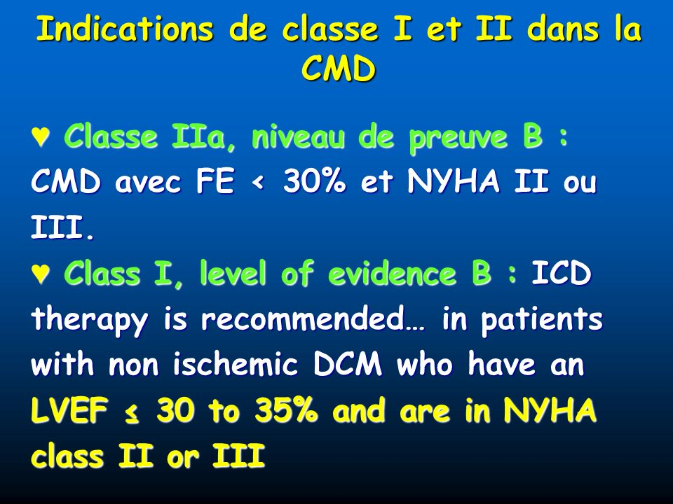 Indications de classe I et II dans la CMD