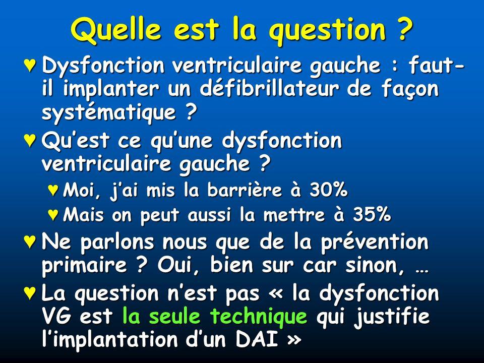 Quelle est la question Dysfonction ventriculaire gauche : faut-il implanter un défibrillateur de façon systématique