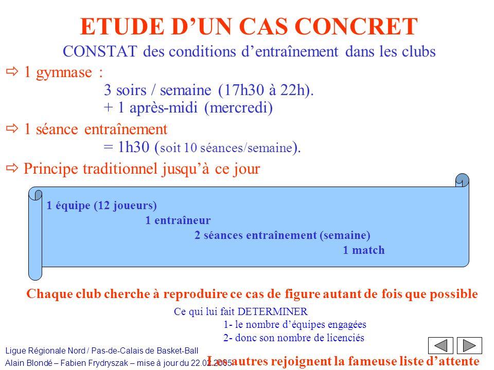 ETUDE D'UN CAS CONCRET CONSTAT des conditions d'entraînement dans les clubs