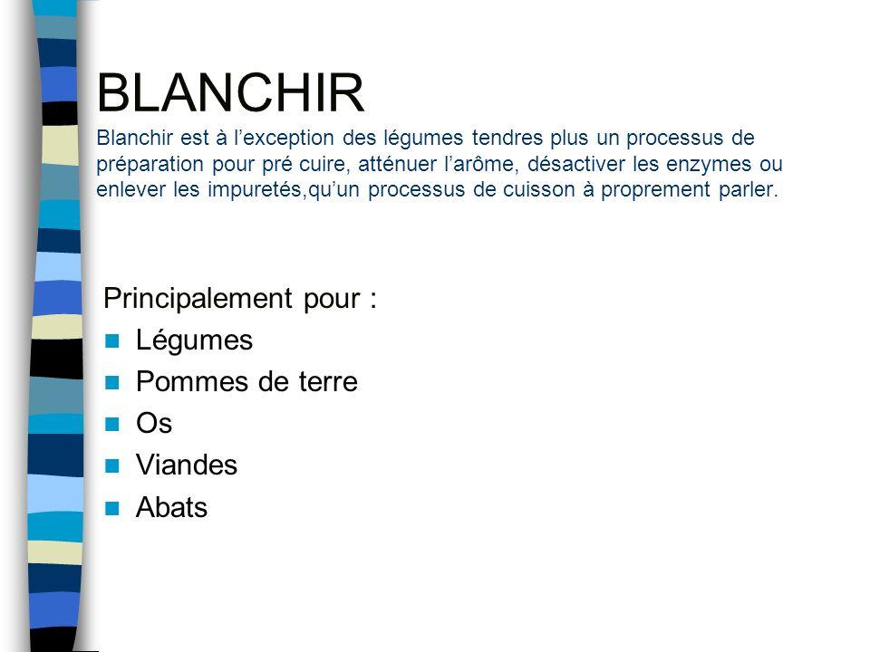 BLANCHIR Blanchir est à l'exception des légumes tendres plus un processus de préparation pour pré cuire, atténuer l'arôme, désactiver les enzymes ou enlever les impuretés,qu'un processus de cuisson à proprement parler.