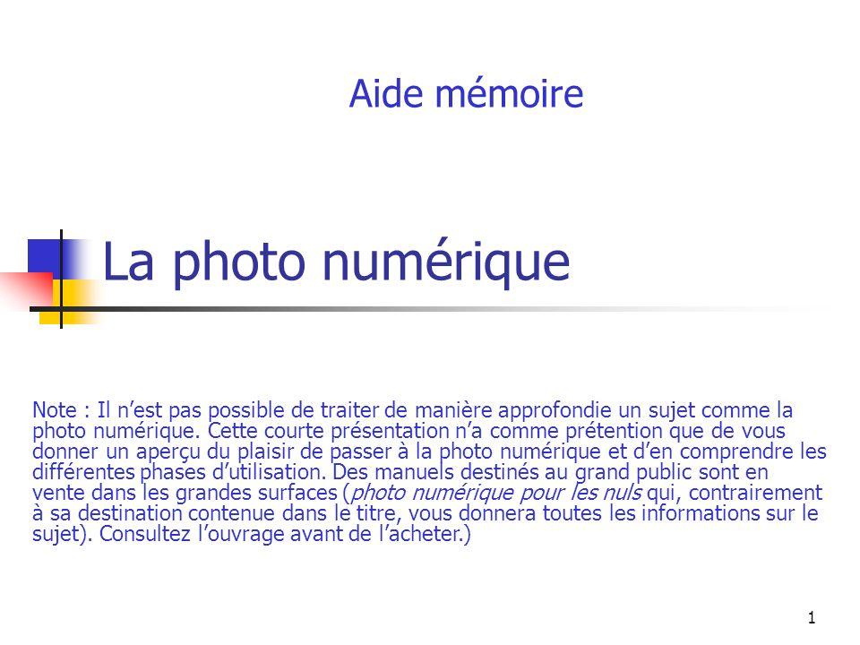 La photo numérique Aide mémoire