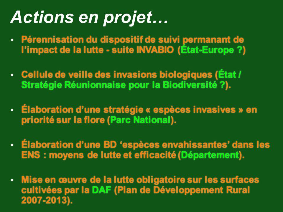 Actions en projet… Pérennisation du dispositif de suivi permanant de l'impact de la lutte - suite INVABIO (État-Europe )