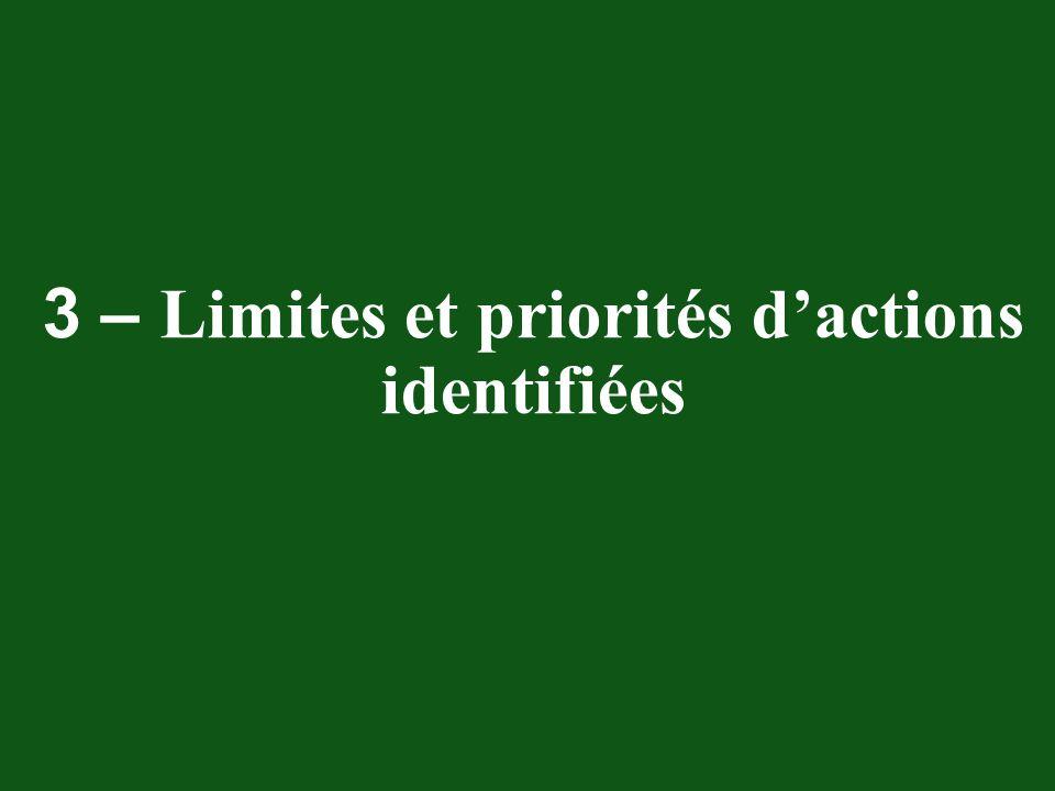 3 – Limites et priorités d'actions identifiées