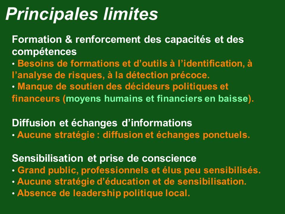 Principales limites Formation & renforcement des capacités et des compétences.