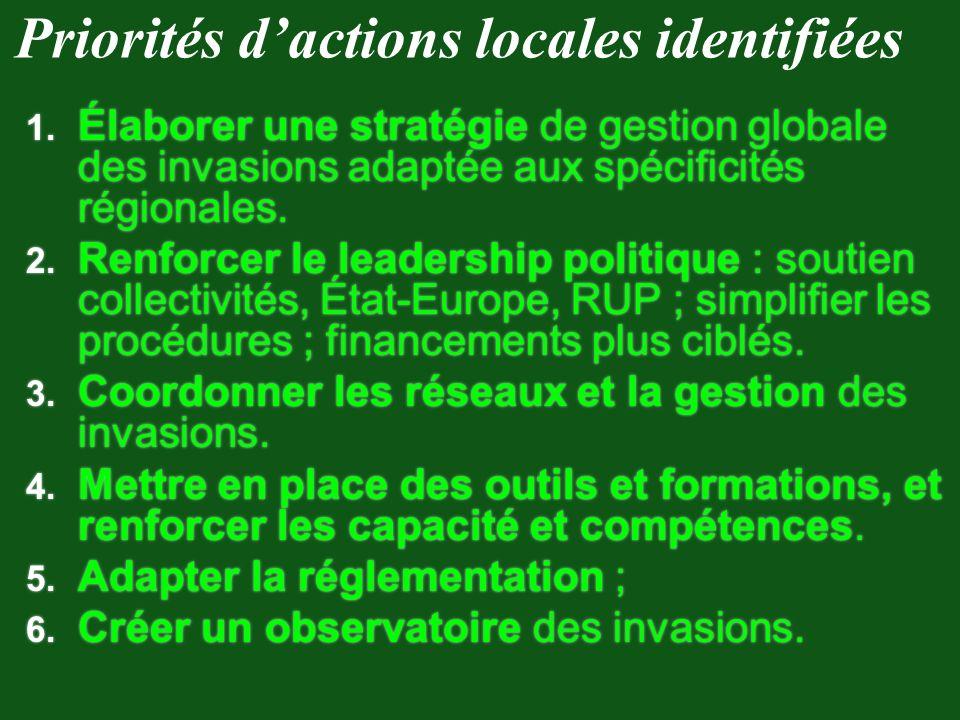 Priorités d'actions locales identifiées