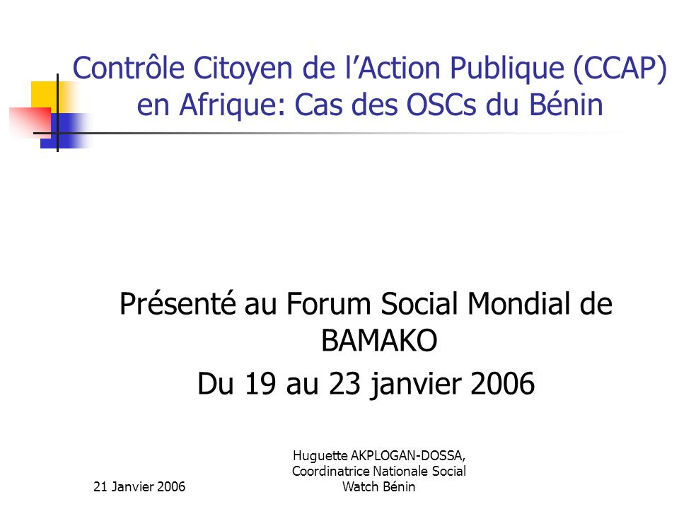 Contrôle Citoyen de l'Action Publique (CCAP) en Afrique: Cas des OSCs du Bénin