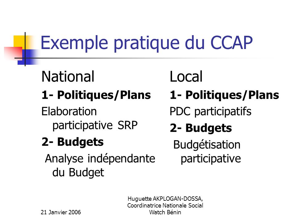 Exemple pratique du CCAP