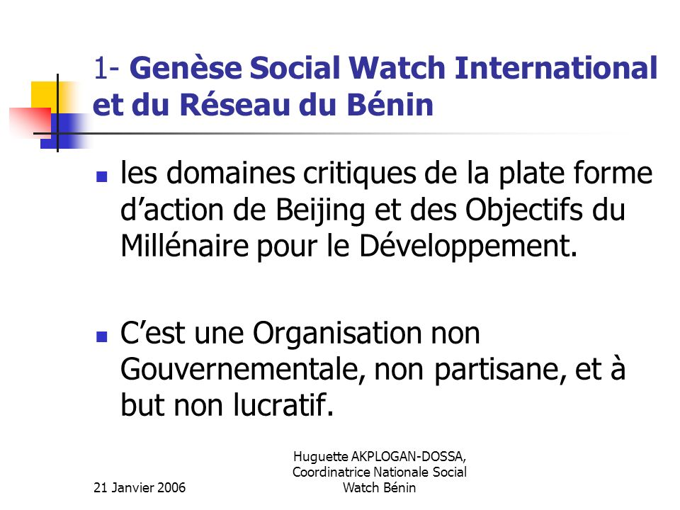 1- Genèse Social Watch International et du Réseau du Bénin