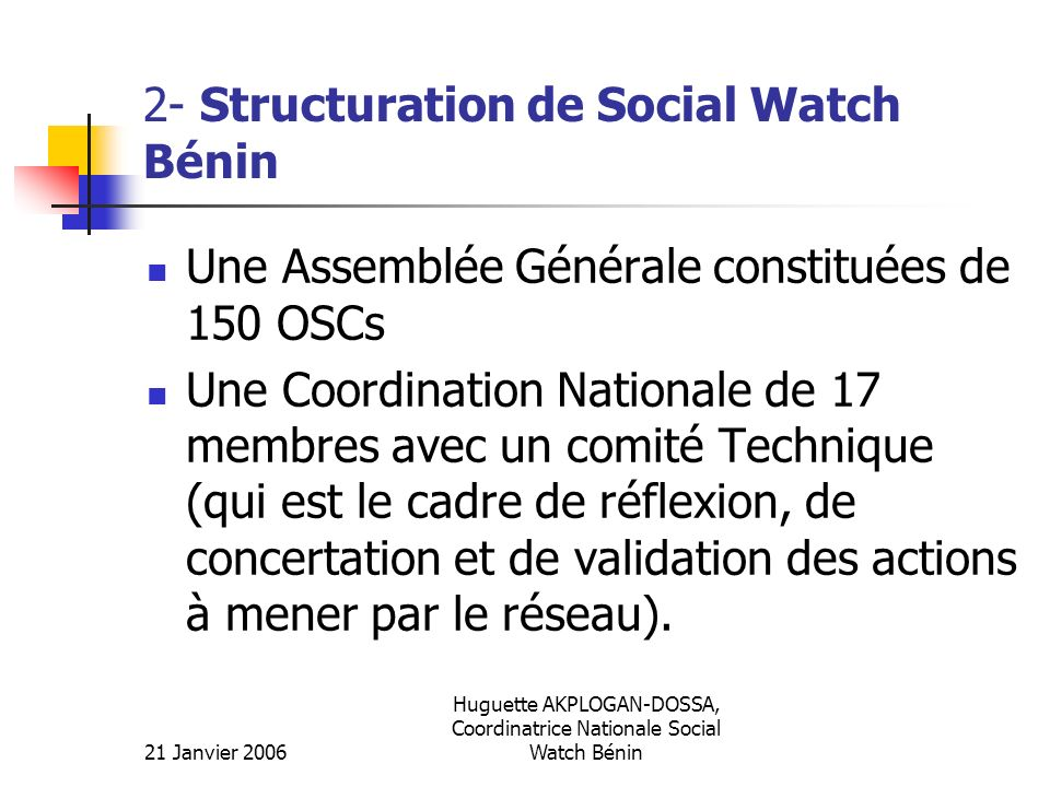 2- Structuration de Social Watch Bénin