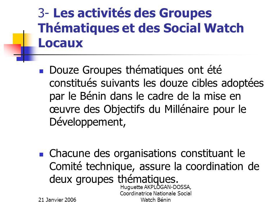 3- Les activités des Groupes Thématiques et des Social Watch Locaux