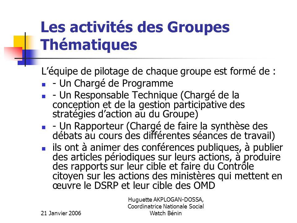 Les activités des Groupes Thématiques
