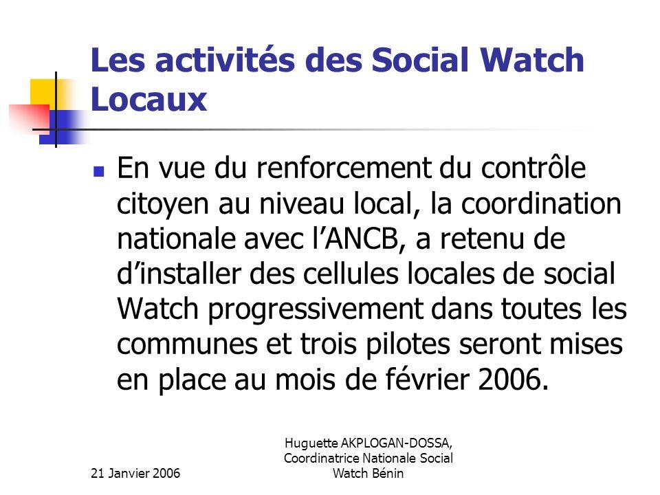 Les activités des Social Watch Locaux