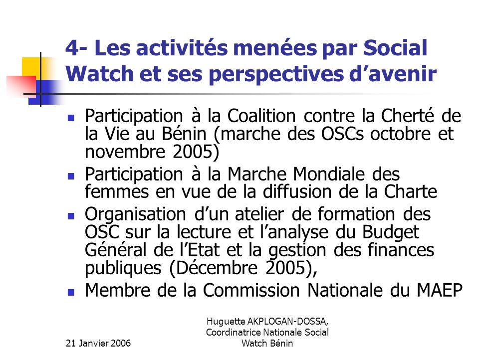 4- Les activités menées par Social Watch et ses perspectives d'avenir