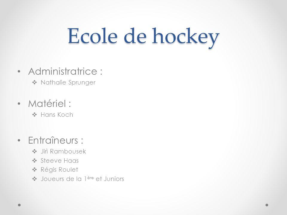 Ecole de hockey Administratrice : Matériel : Entraîneurs :