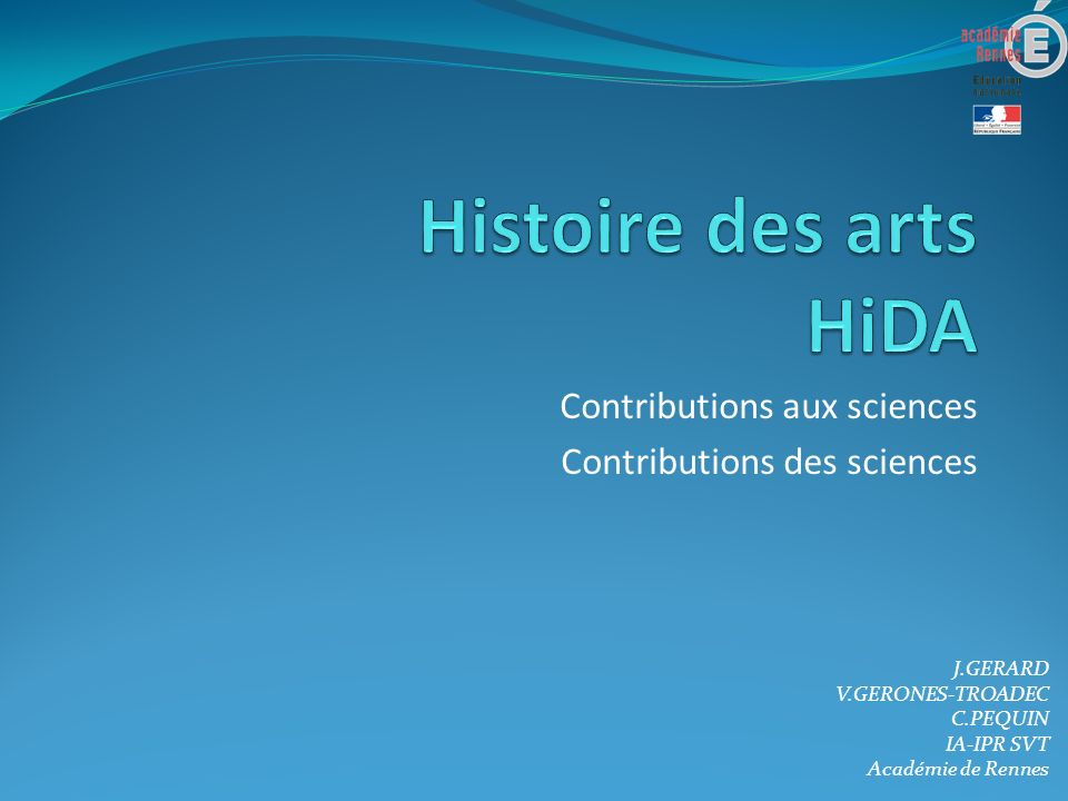 Contributions aux sciences Contributions des sciences