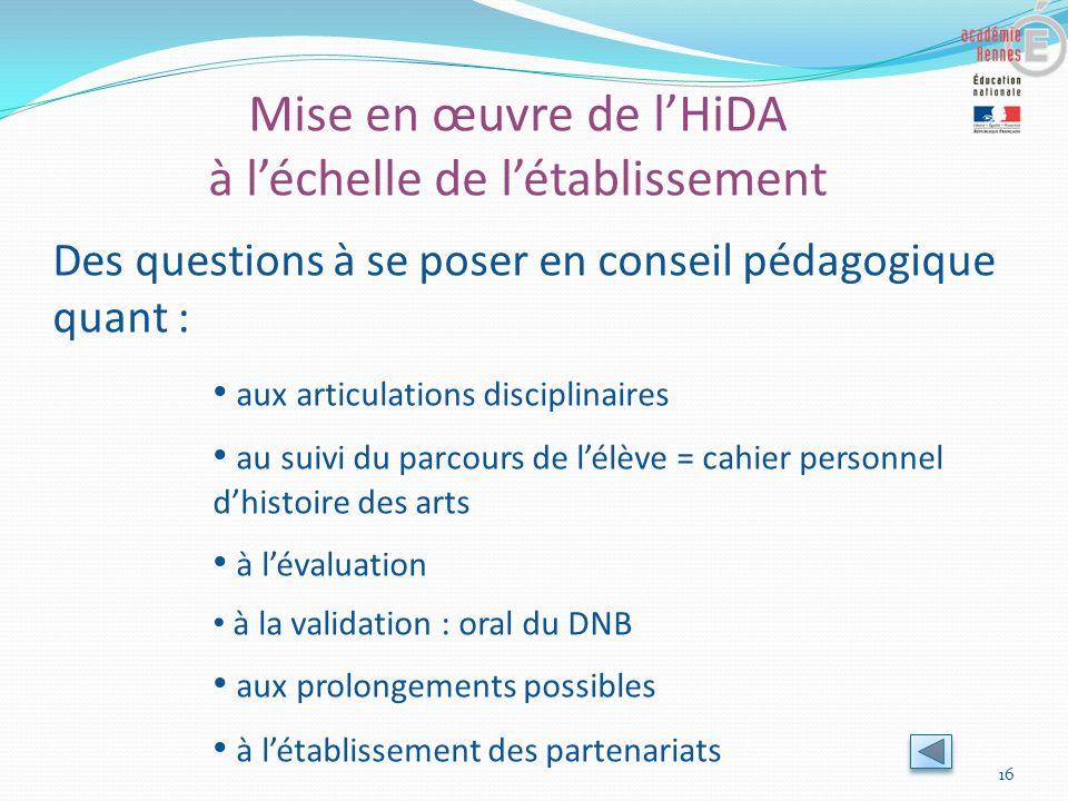 Mise en œuvre de l'HiDA à l'échelle de l'établissement