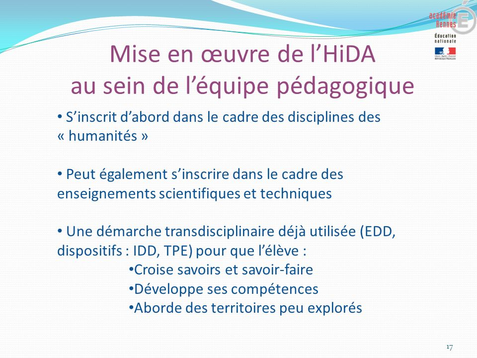 Mise en œuvre de l'HiDA au sein de l'équipe pédagogique