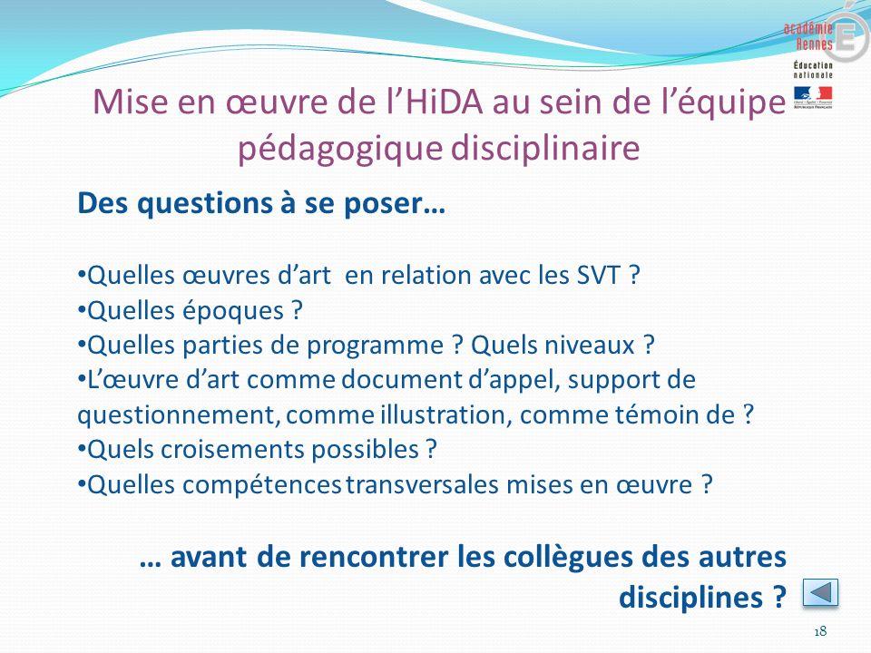 Mise en œuvre de l'HiDA au sein de l'équipe pédagogique disciplinaire