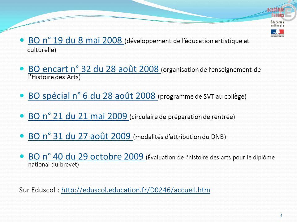 BO n° 19 du 8 mai 2008 (développement de l'éducation artistique et