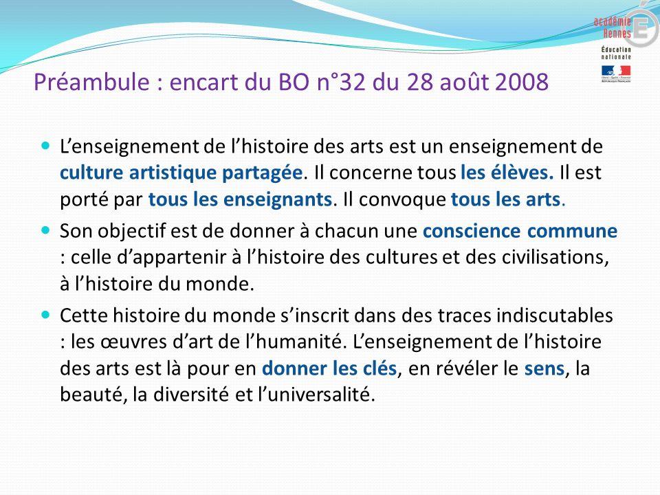 Préambule : encart du BO n°32 du 28 août 2008