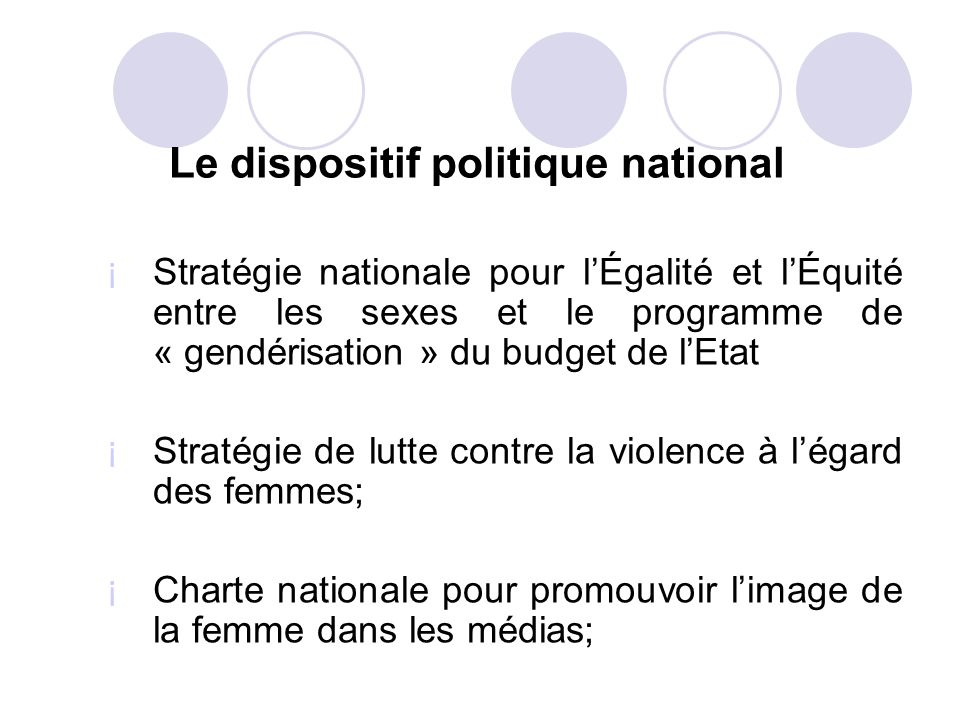 Le dispositif politique national