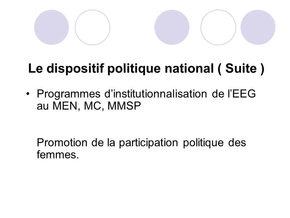 Le dispositif politique national ( Suite )