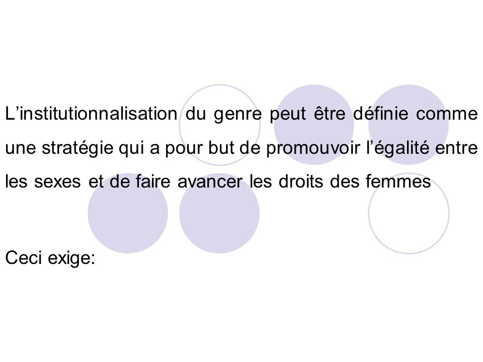 L'institutionnalisation du genre peut être définie comme une stratégie qui a pour but de promouvoir l'égalité entre les sexes et de faire avancer les droits des femmes